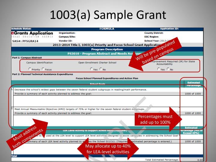 1003(a) Sample Grant