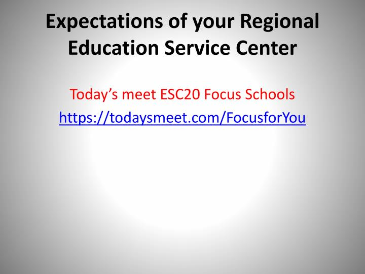 Expectations of your regional education service center