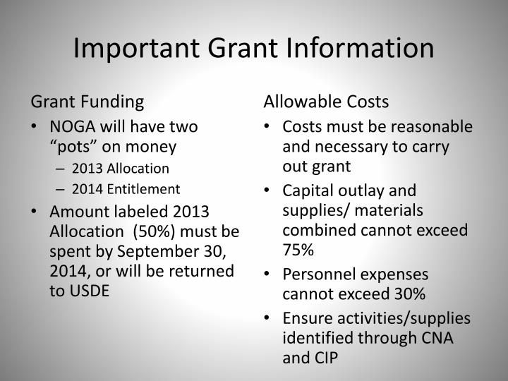 Important Grant Information