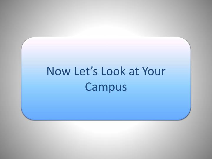 Now Let's Look at Your Campus