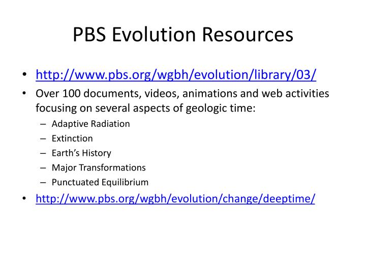 Pbs evolution resources