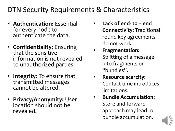 DTN Security Requirements & Characteristics