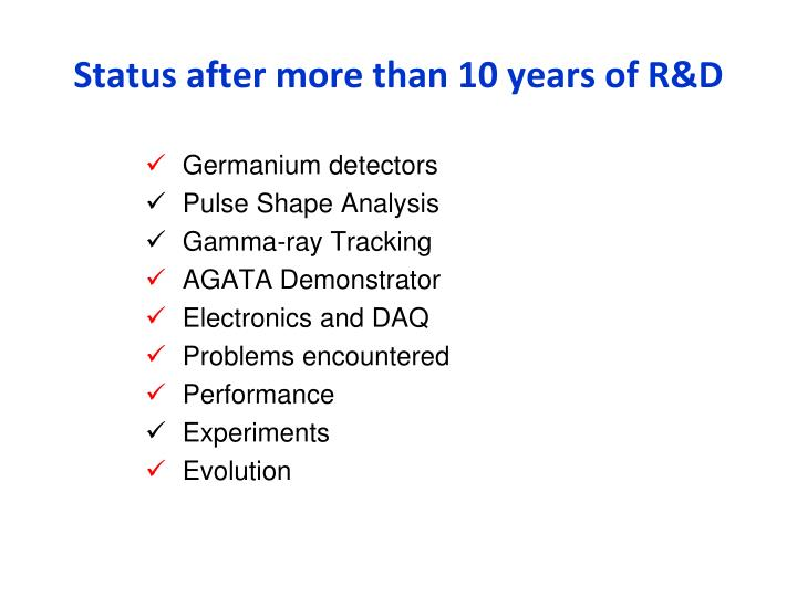 Status after more than 10 years of R&D
