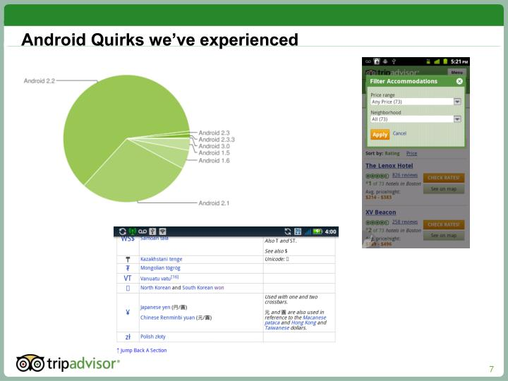 Android Quirks we've experienced