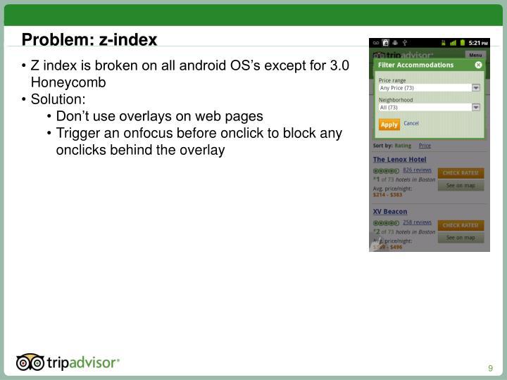 Problem: z-index