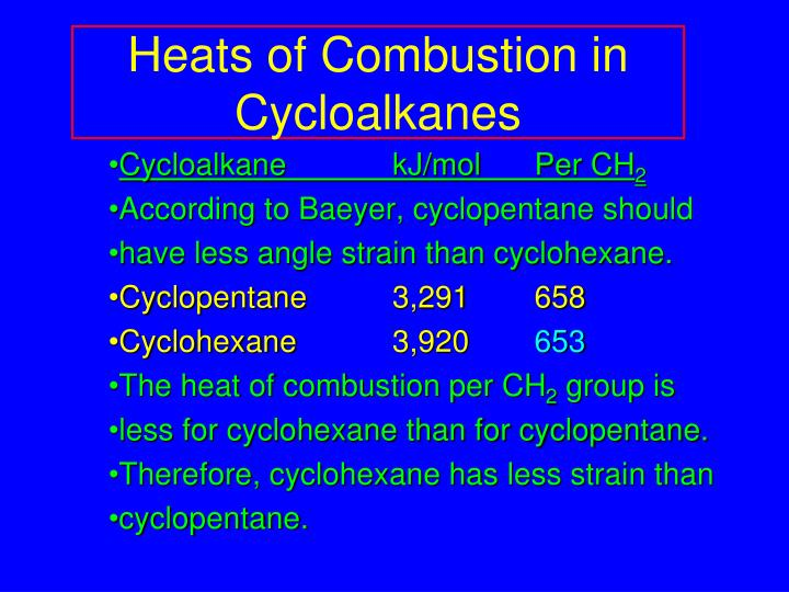 Heats of Combustion in Cycloalkanes