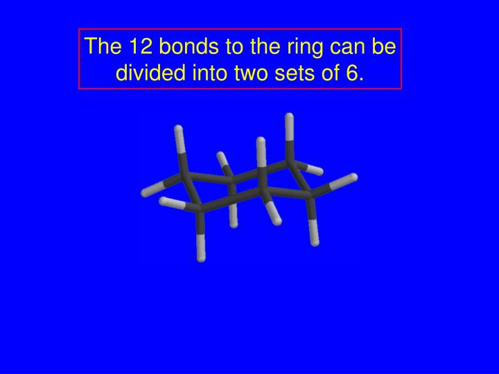 The 12 bonds to the ring can be divided into two sets of 6.