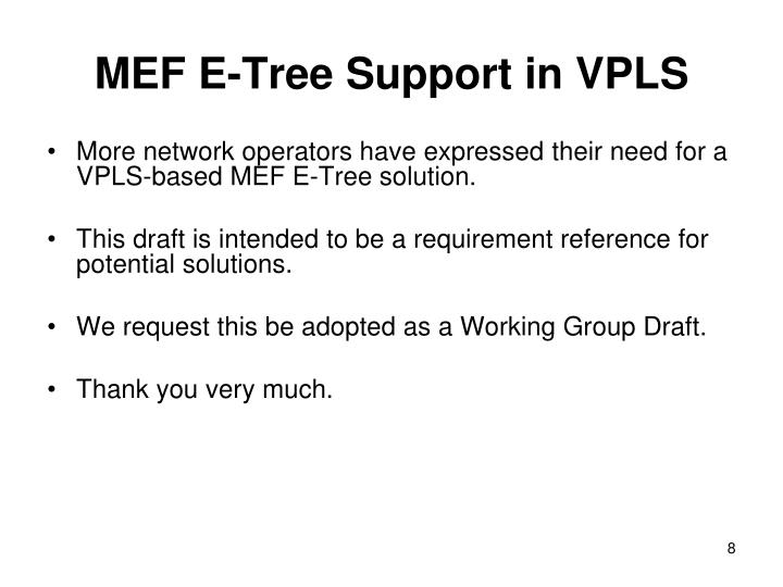MEF E-Tree Support in VPLS
