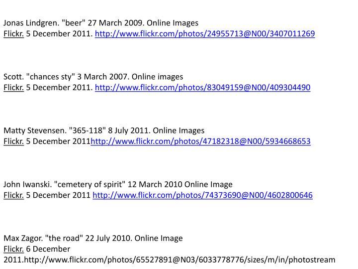 """Jonas Lindgren. """"beer"""" 27 March 2009. Online Images"""