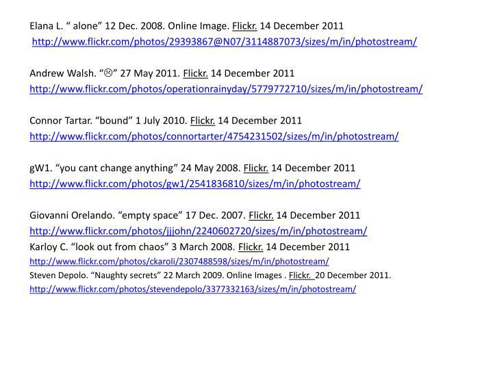 """Elana L. """" alone"""" 12 Dec. 2008. Online Image."""