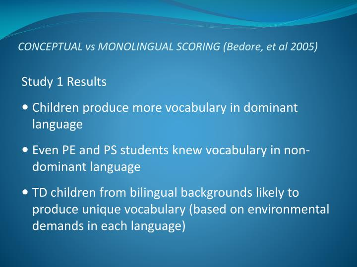 CONCEPTUAL vs MONOLINGUAL SCORING (