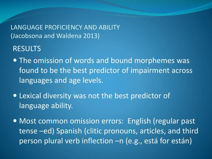 LANGUAGE PROFICIENCY AND ABILITY