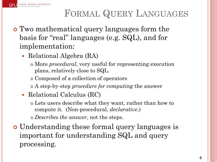 Formal Query Languages