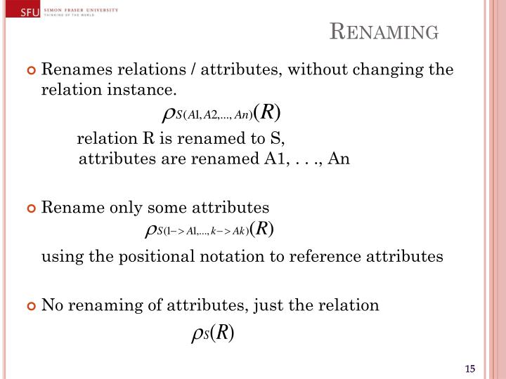 Renames relations / attributes, without changing the relation instance.