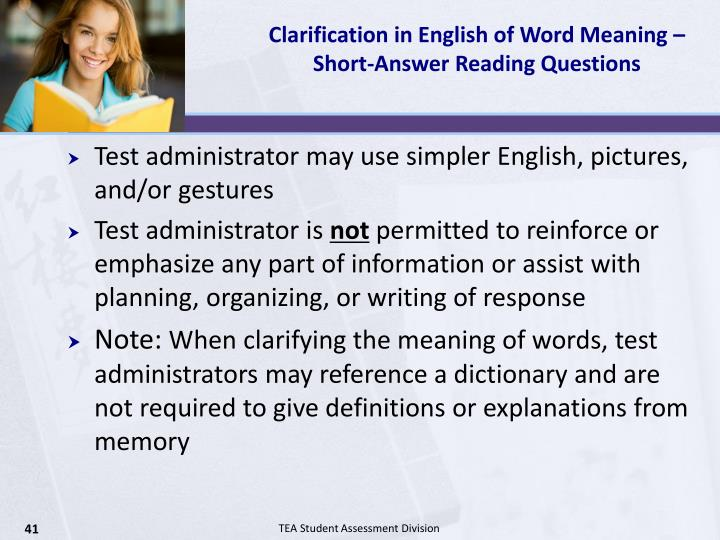 Clarification in English of Word Meaning – Short-Answer Reading Questions