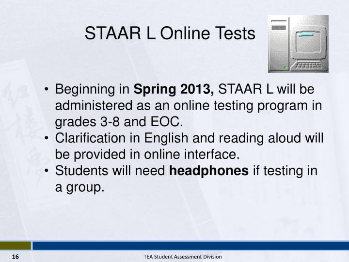 STAAR L Online Tests