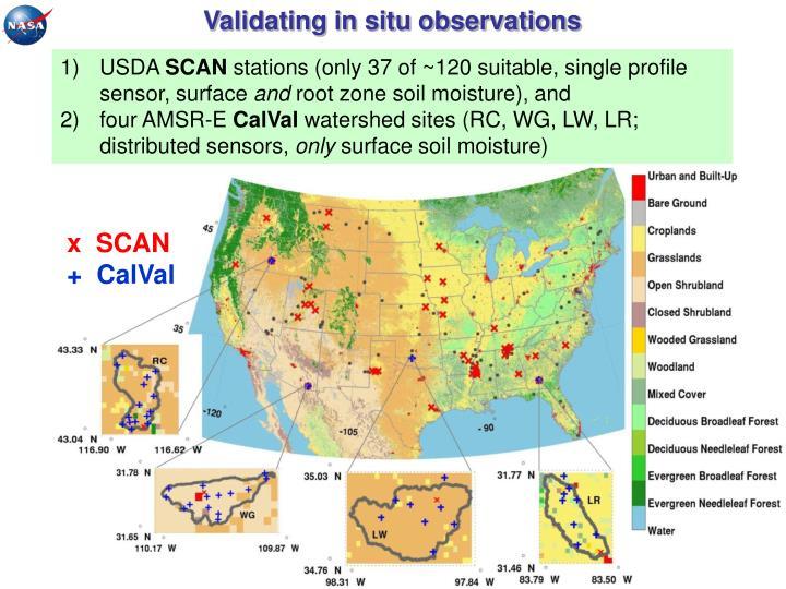 Validating in situ observations
