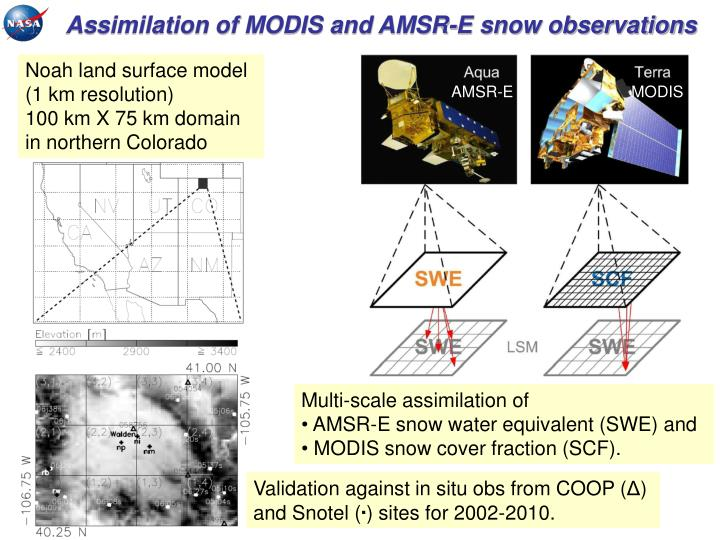 Assimilation of MODIS and AMSR-E snow observations