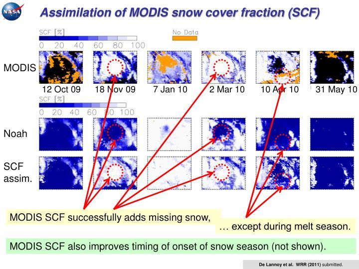 Assimilation of MODIS snow cover fraction (SCF)