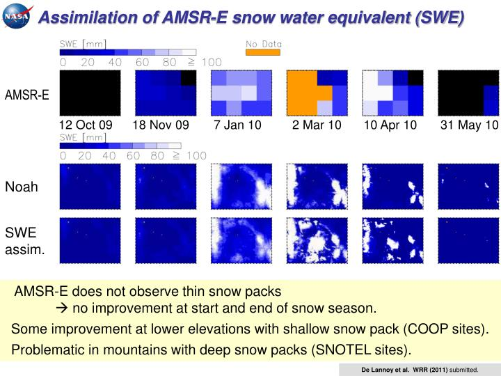 Assimilation of AMSR-E snow water equivalent (SWE)
