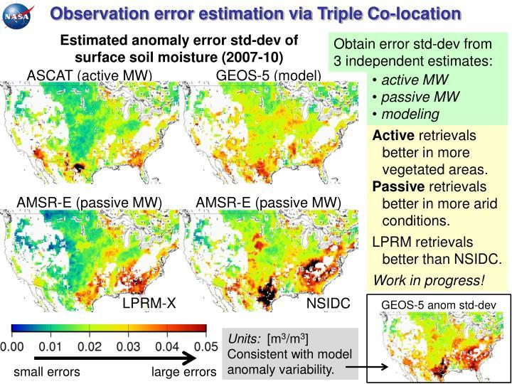 Observation error estimation via Triple Co-location