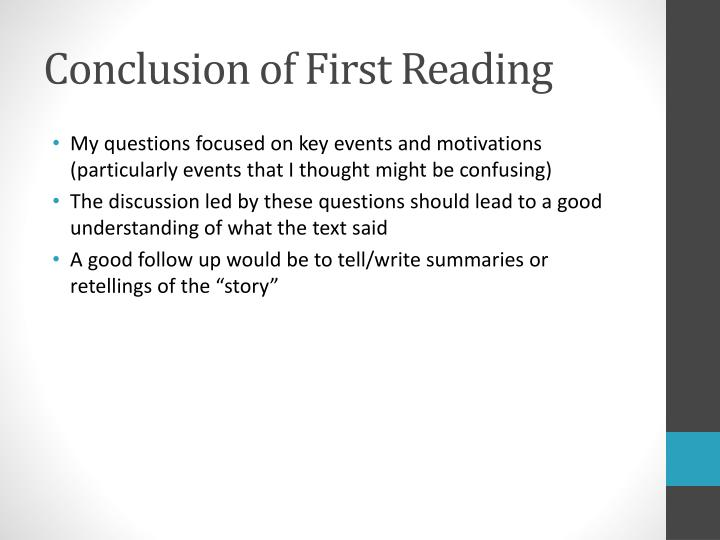 Conclusion of First Reading