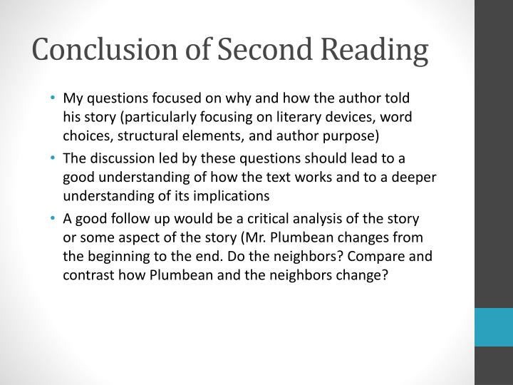 Conclusion of Second Reading