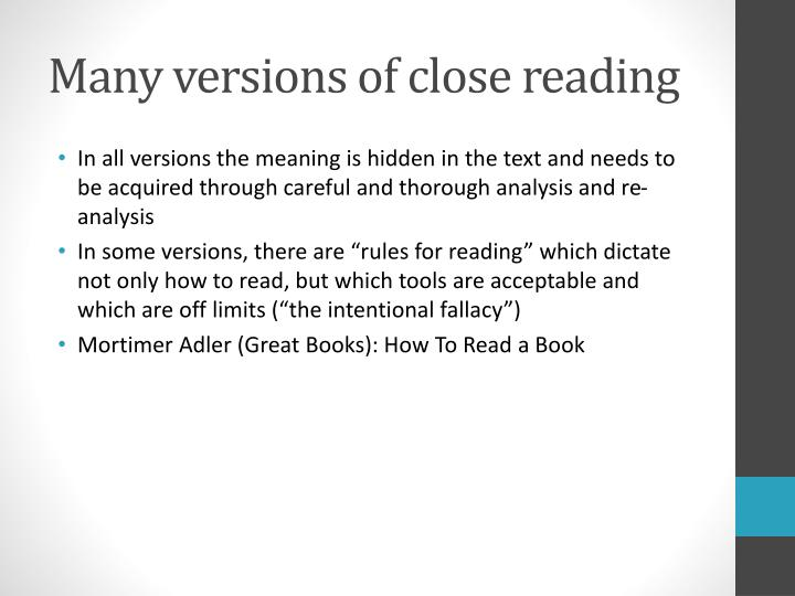 Many versions of close reading