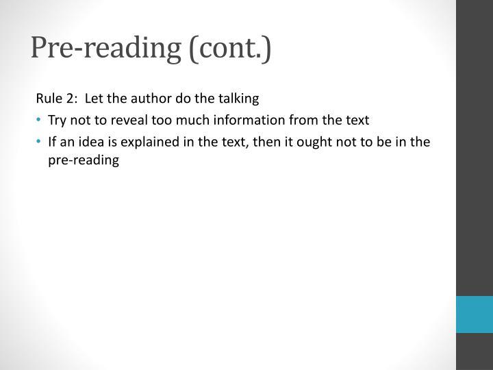 Pre-reading (cont.)