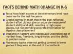facts behind math change in k 6