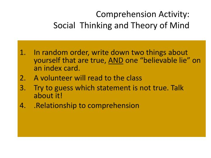 Comprehension Activity: