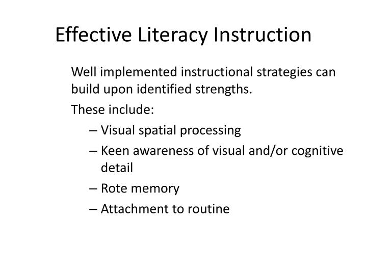 Effective Literacy Instruction