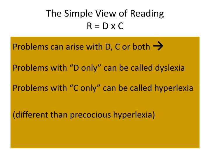 The Simple View of Reading
