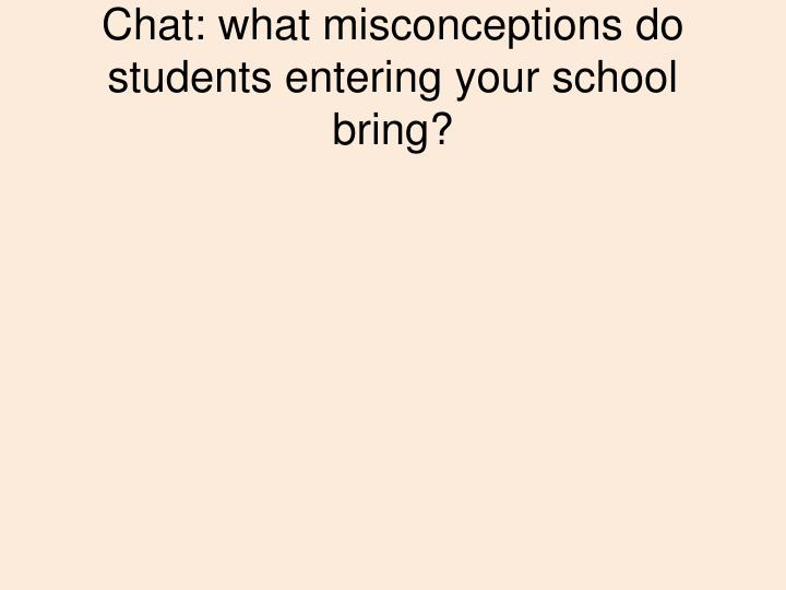 Chat: what misconceptions do students entering your school bring?
