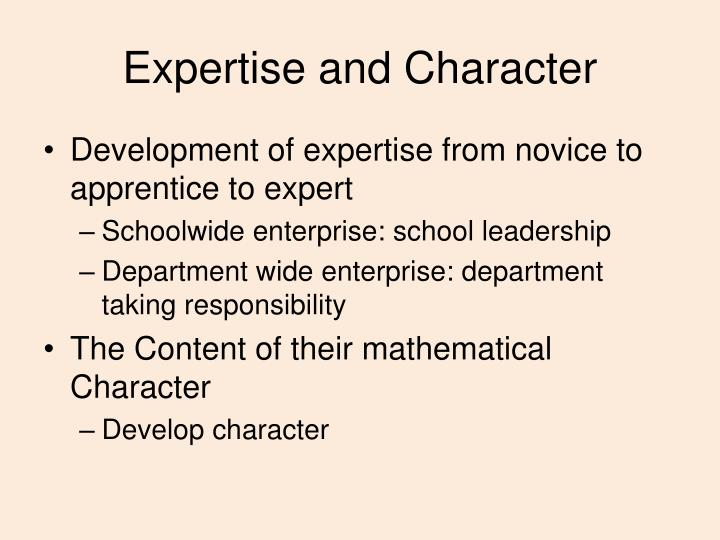 Expertise and Character