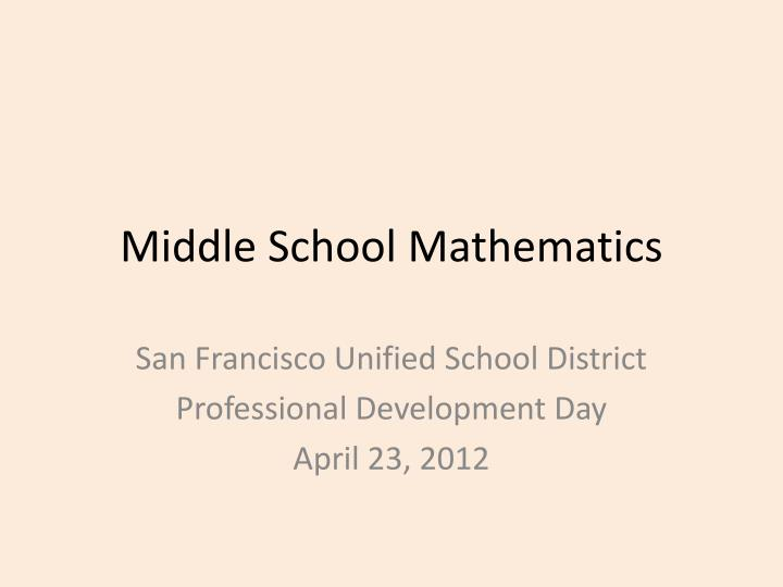 Middle school mathematics