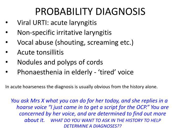 PROBABILITY DIAGNOSIS