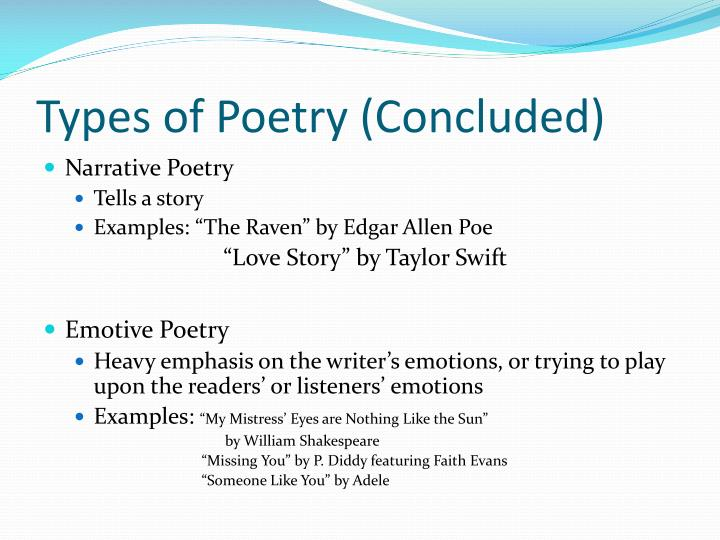 Types of Poetry (Concluded)