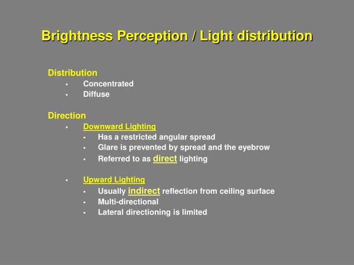 Brightness Perception / Light distribution