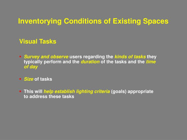 Inventorying Conditions of Existing Spaces