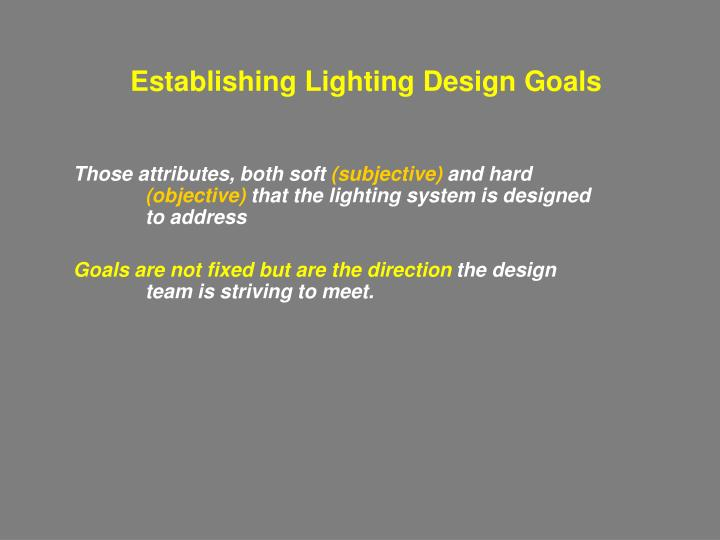 Establishing Lighting Design Goals