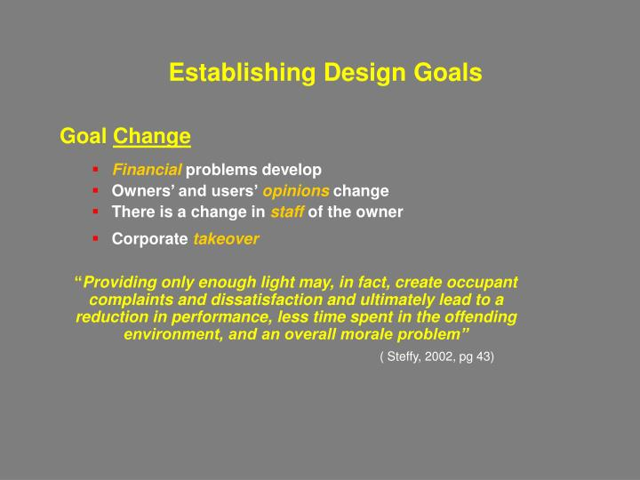 Establishing Design Goals