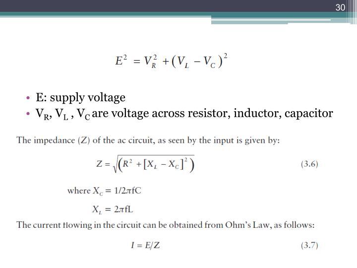 E: supply voltage