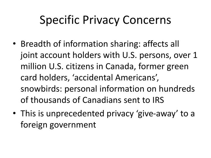 Specific Privacy Concerns
