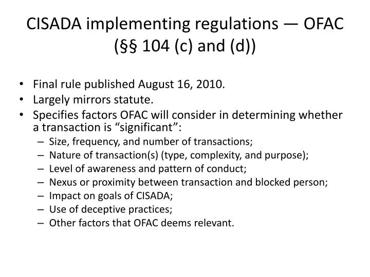 CISADA implementing regulations — OFAC (§§ 104 (c) and (d))