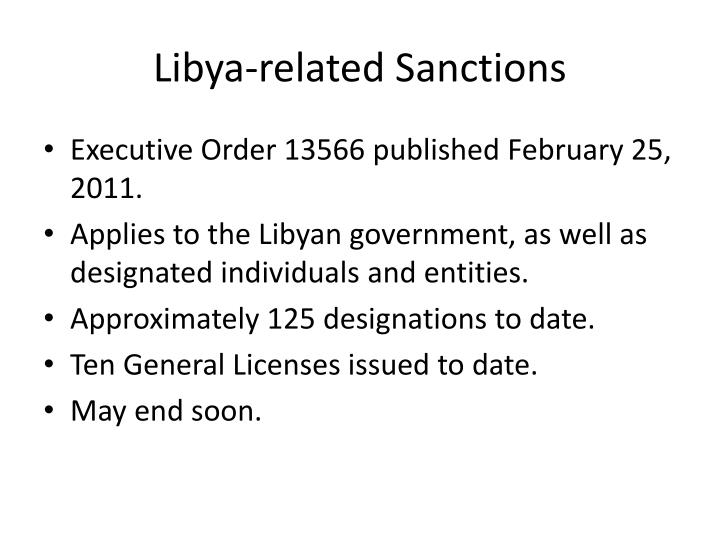 Libya related sanctions