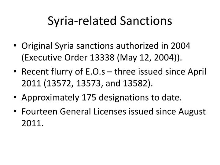 Syria related sanctions