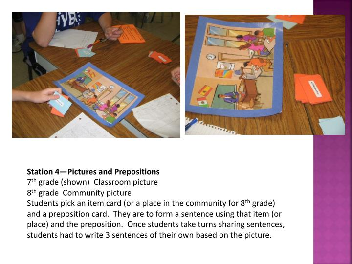 Station 4—Pictures and Prepositions
