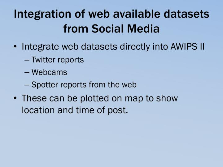 Integration of web available datasets from Social Media