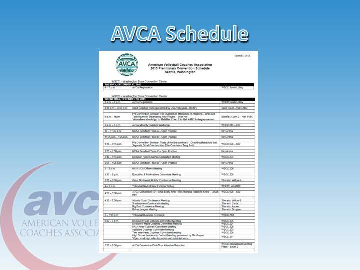 AVCA Schedule